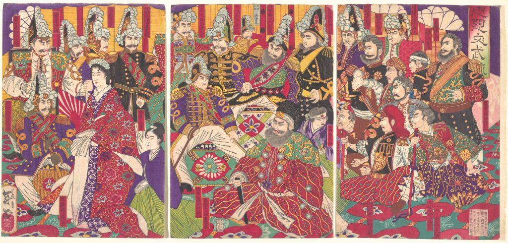 Ilustración a color de funcionarios civiles y militares dela era Meiji.