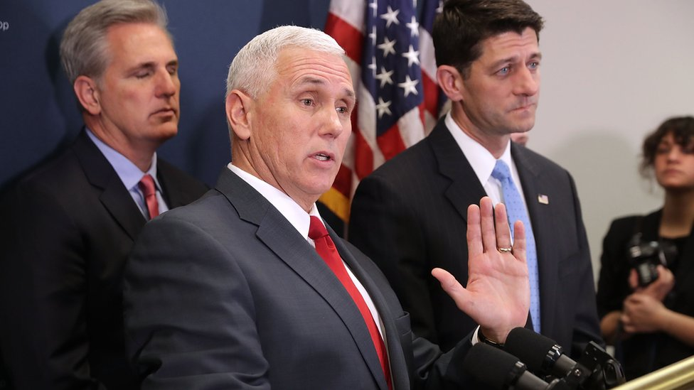 Vice President-elect Mike Pence (2nd L) joins House Majority Leader Kevin McCarthy (L) and Speaker of the House Paul Ryan (R)