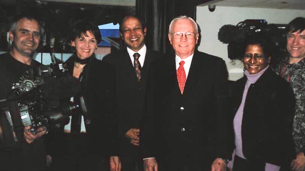 Neil Armstrong and the BBC News team in 2010