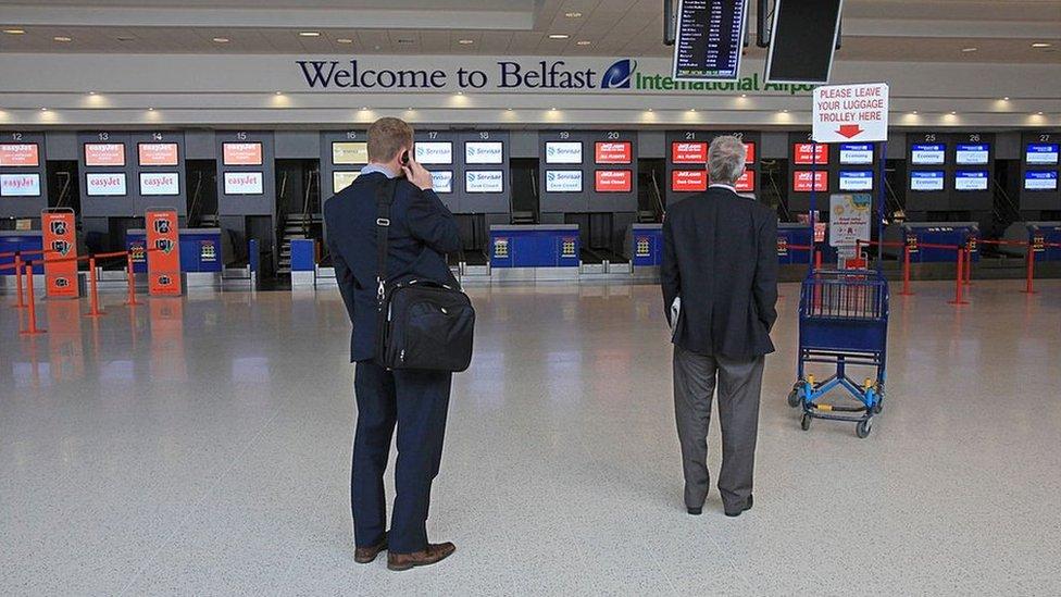 Passengers at Belfast International Airport