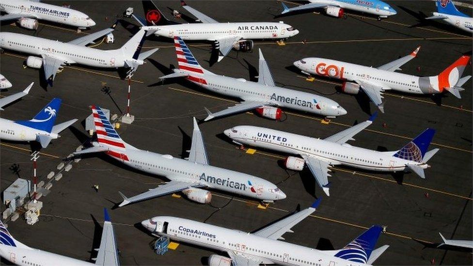 Unidades del 737 Max, aparcadas en un aeródromo de Boeing en Seattle, en Washington.