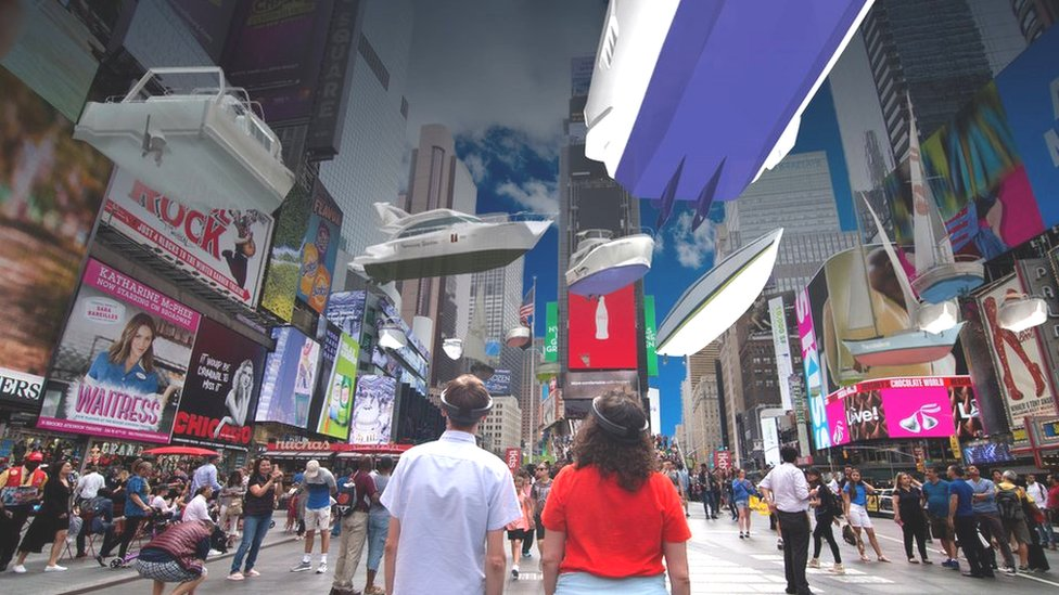 AR boats floating above viewers' heads in Time Square, New York