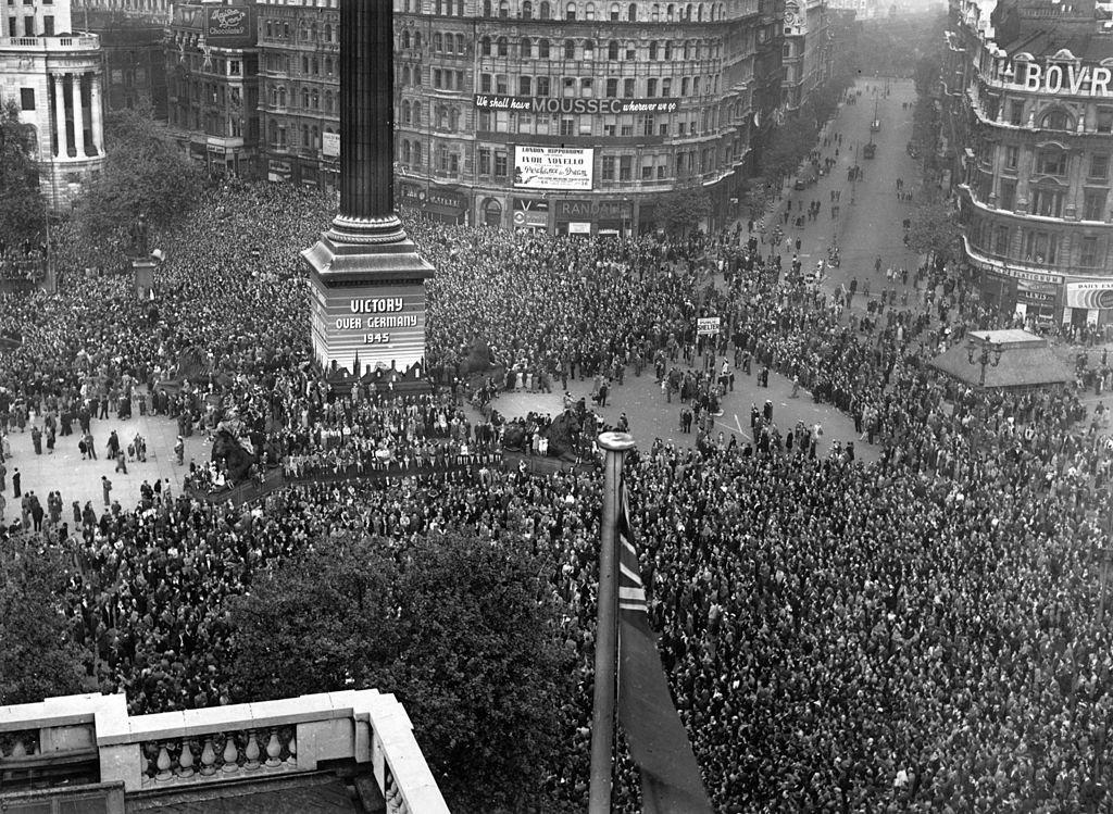 Celebración del Día de la Victoria en Europa, Londres en 1945