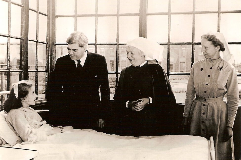 Aneurin Bevan on the first day of NHS at Park Hospital Manchester