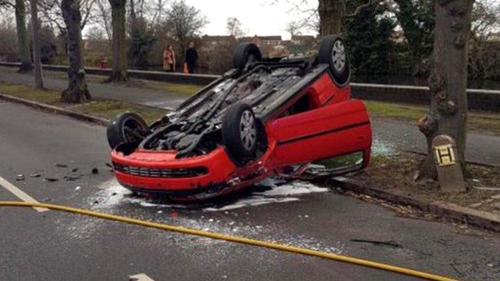 Man in court over Long Eaton overturned car crash