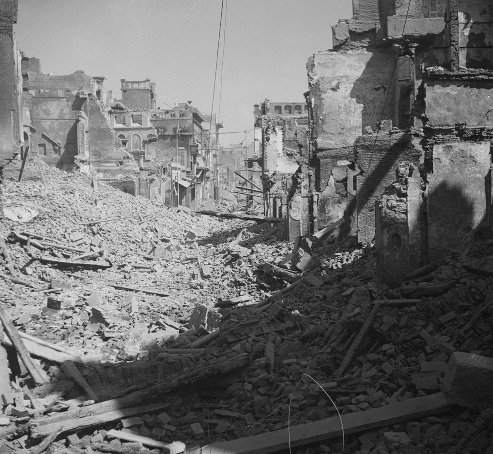Destroyed buildings in Amritsar after widespread communal violence in March 1947.