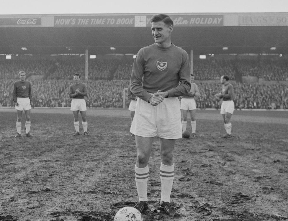 English soccer player Jimmy Dickinson (1925 - 1982) of Portsmouth FC at Fratton Park stadium for a match against Charlton Athletic FC, Portsmouth, UK, 16th November 1963.