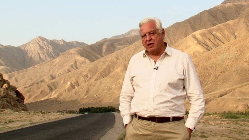 John Simpson reporting from Pul-e Khomri, Afghanistan, in September 2014