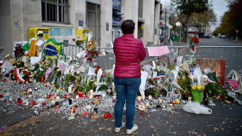 Tributes left near the Bataclan concert hall on 15 November 2015