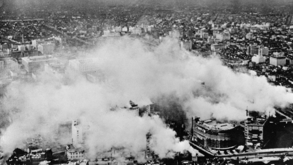 Smoke rises from the city of Tokyo during an American air-raid, Japan, June 1944
