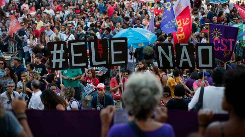 Protesta en Río de Janeiro contra Jair Bolsonaro.