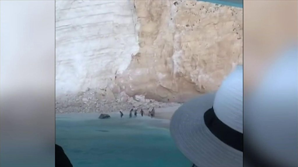 Zakynthos rockfall: Greece tourists film aftermath of cliff collapse