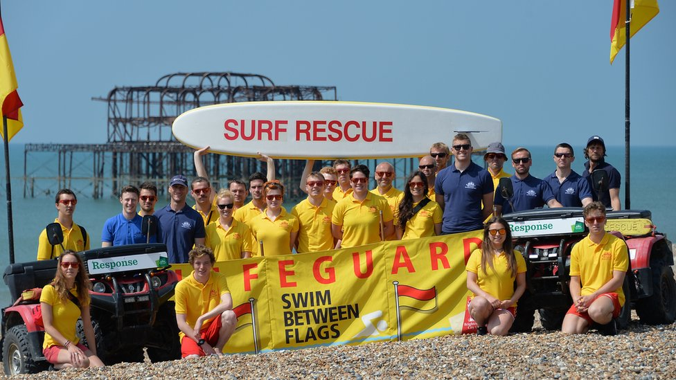 Seafront and lifeguard rescue team in Brighton