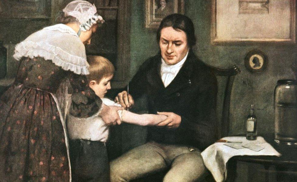 Pintura de Edward Jenner vacinando a primeira pessoa contra a varíola em 1796