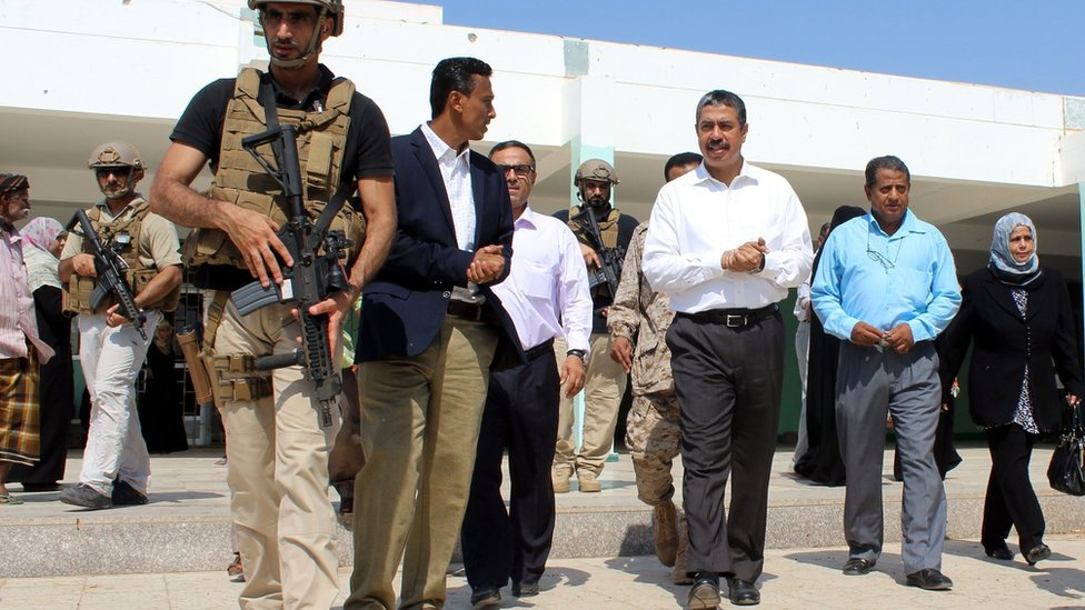 Yemeni Prime Minister Khaled Bahah in Aden (5 October 2015)