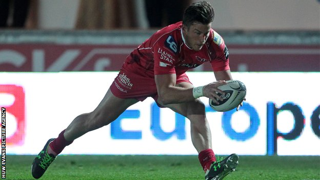 Scarlets winger DTH van der Merwe scores his first try for the region