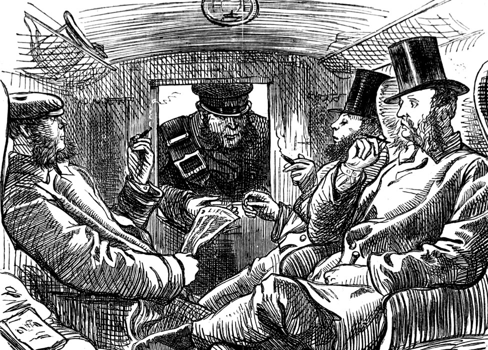 A 19th century conductor checking tickets in a first class train carriage