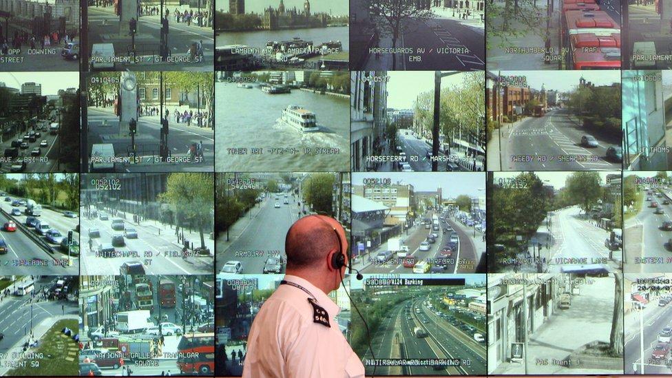 Centro de pantallas de la policía de Londres