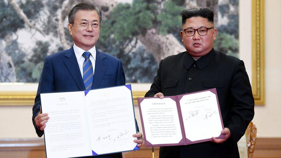 Mun Džae In i Kim Džong Un