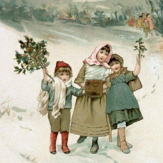 Ilustração do século 19 com crianças comemorando o Natal