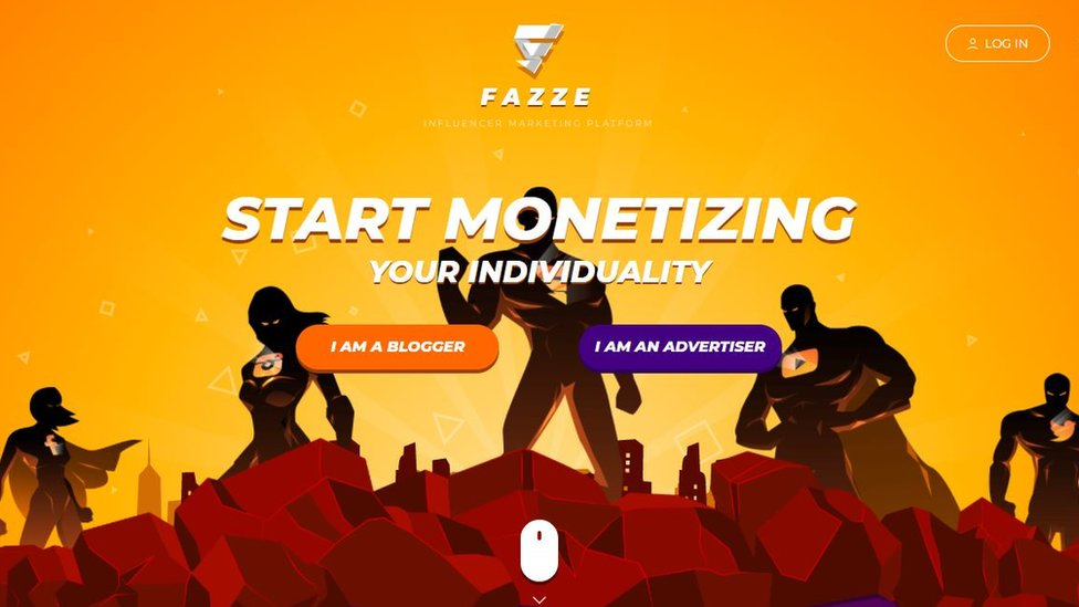 """A web page for Fazze has """"start monetizing your individuality"""" written in big letters. There are two options below - """"I am an blogger"""" and """"I am an advertiser"""". Above is a login button. The page is red and yellow hues, and has the profile of a number of super heroes standing in heroic poses, with social media company logos like Twitter, Facebook and Youtube, on their chests."""