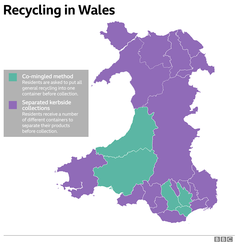 Corrected map of recycling in Wales