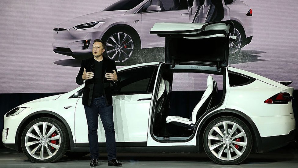 Elon Musk junto a un auto Tesla.