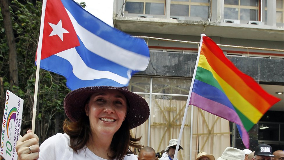 Mariela Castro attends a march where hundreds of Cubans protested against homophobia and for gay rights in 2017 in Havana, Cuba.