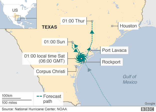Map shows path of the hurricane in Texas