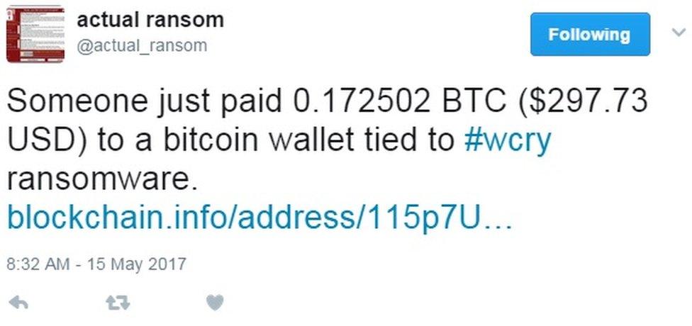 WannaCry payment tweet