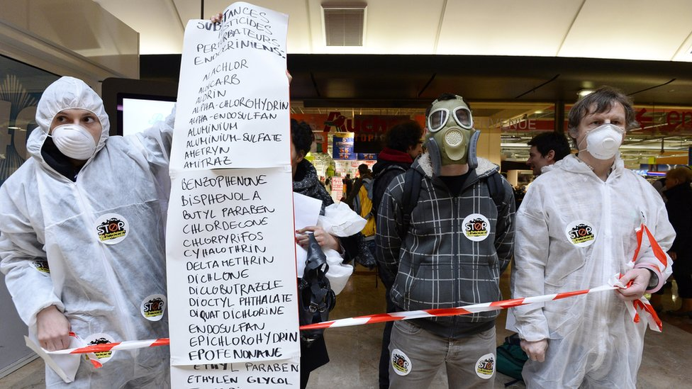 People protesting against the use of pesticides linked to endocrine in front of a Paris supermarket (file photo)