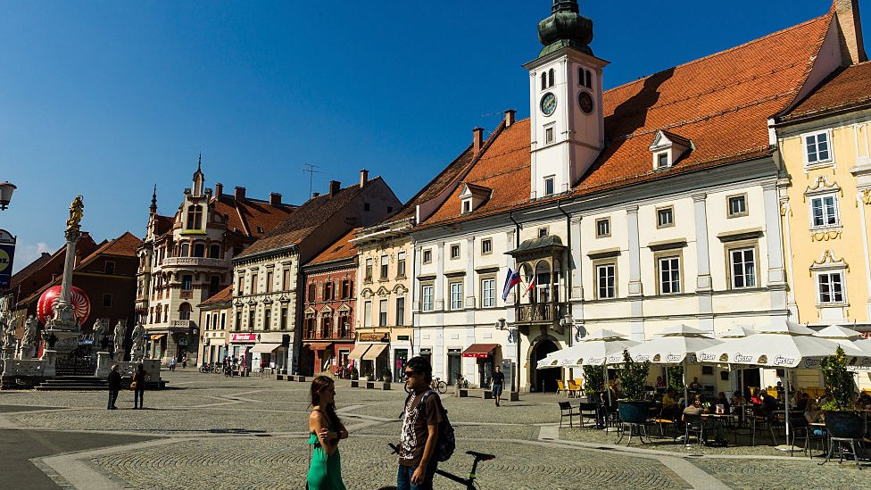 Plaza en Liubliana, capital de Eslovenia.