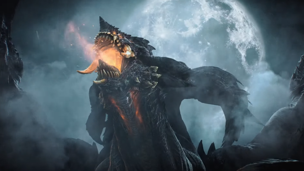 Un demonio gigante respira fuego frente a la luna.