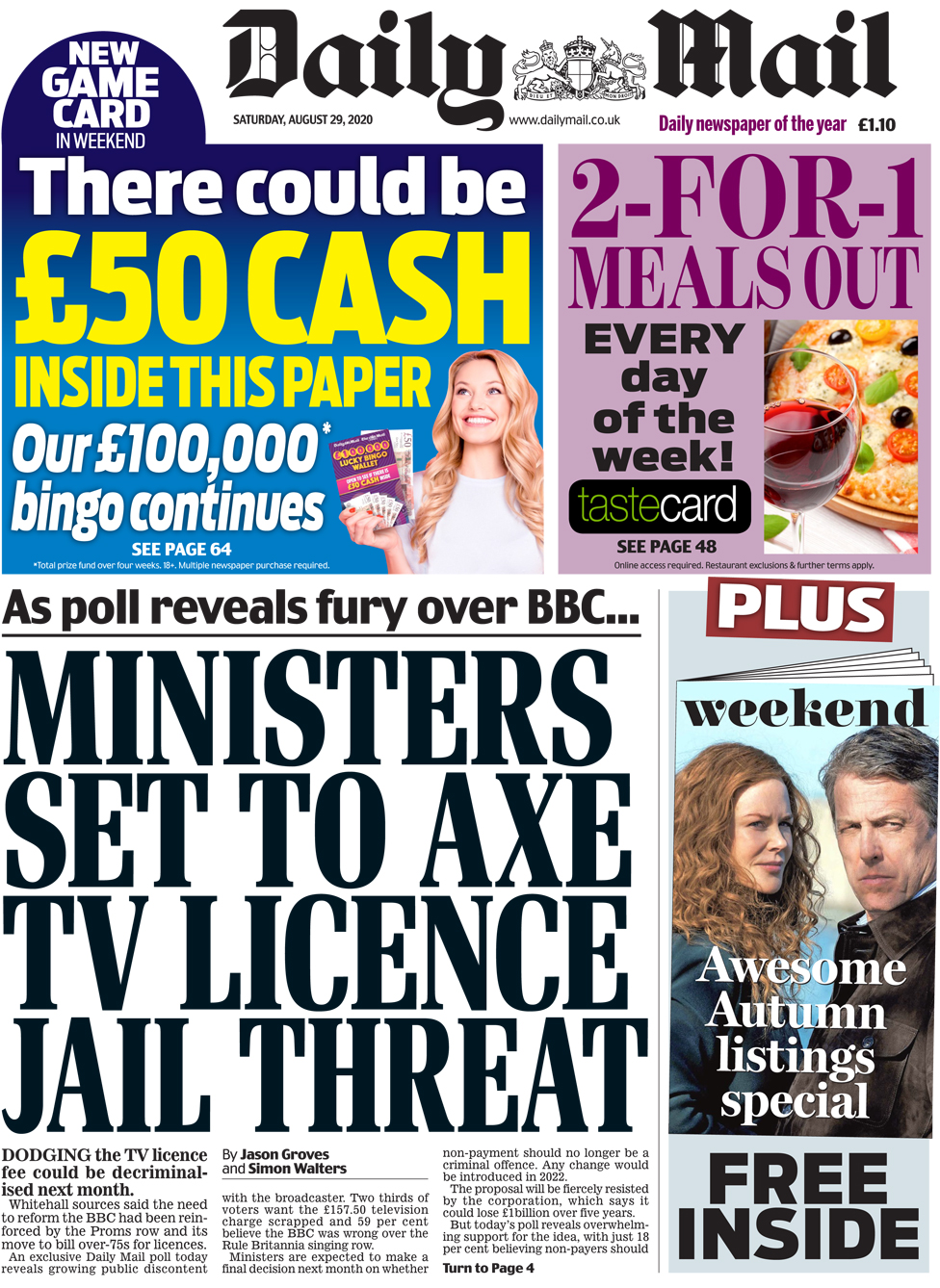 The Daily Mail front page 29 August 2020