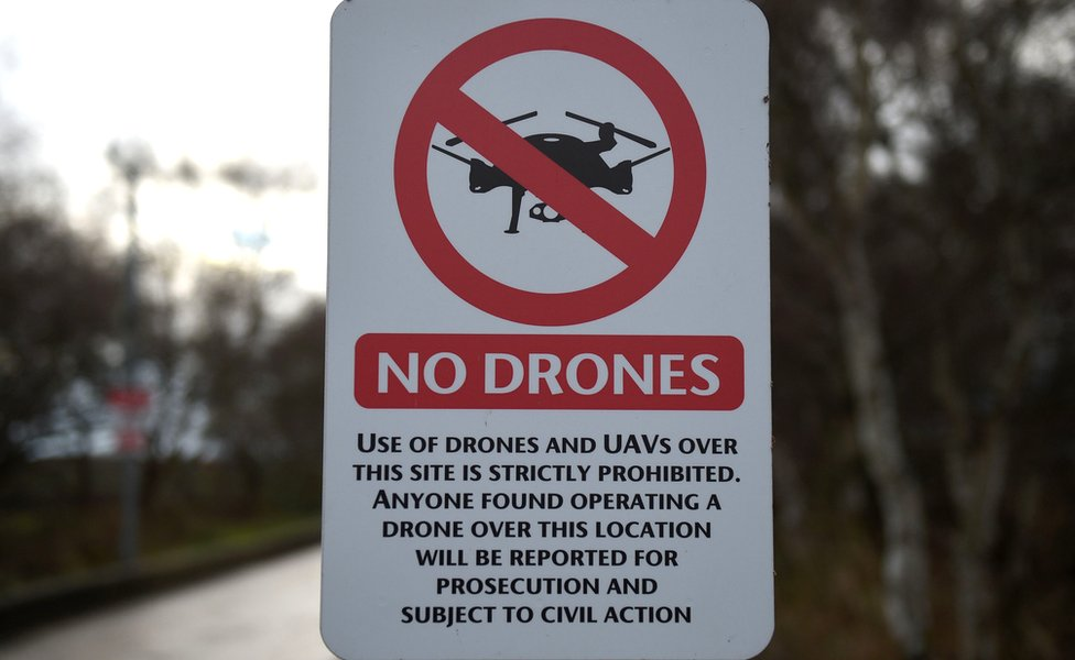 "A ""No Drones"" sign alerting members of the public that the use of drones or unmanned aerial vehicles (UAV) is prohibited"