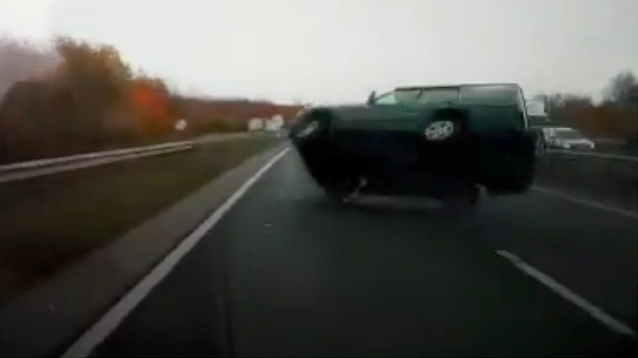 Dashcam shows car swerve and flip on A11 near Cambridge