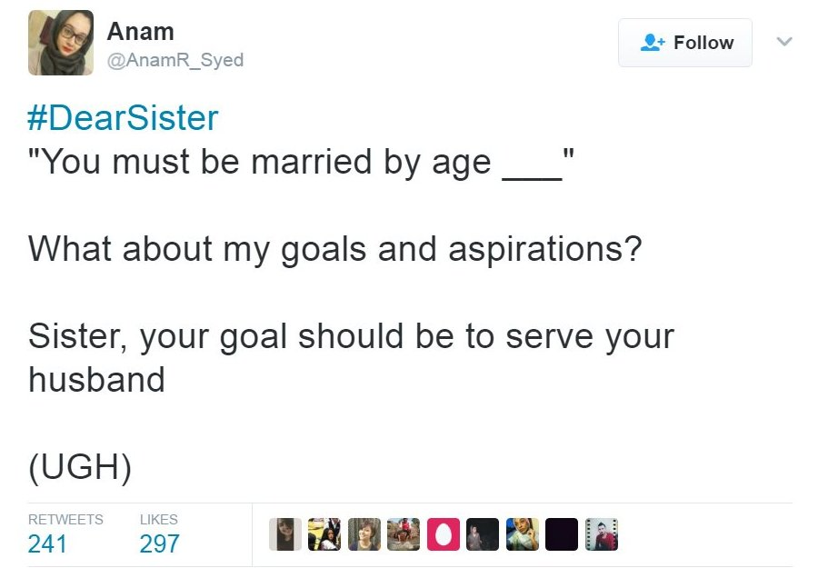 "A tweet saying: ""#DearSister 'You must be married by age ____' What about my goals and aspirations? Sister, your goal should be to serve your husband (UGH)"""