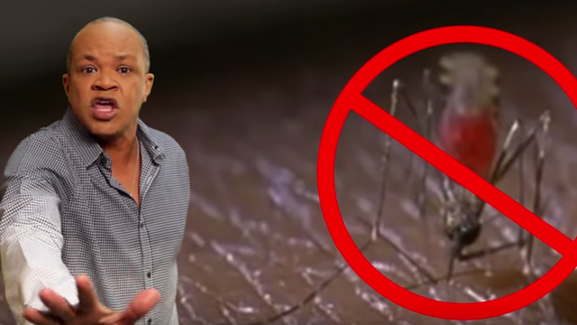 Doctor dancing plus mosquito with 'banned' sign on it