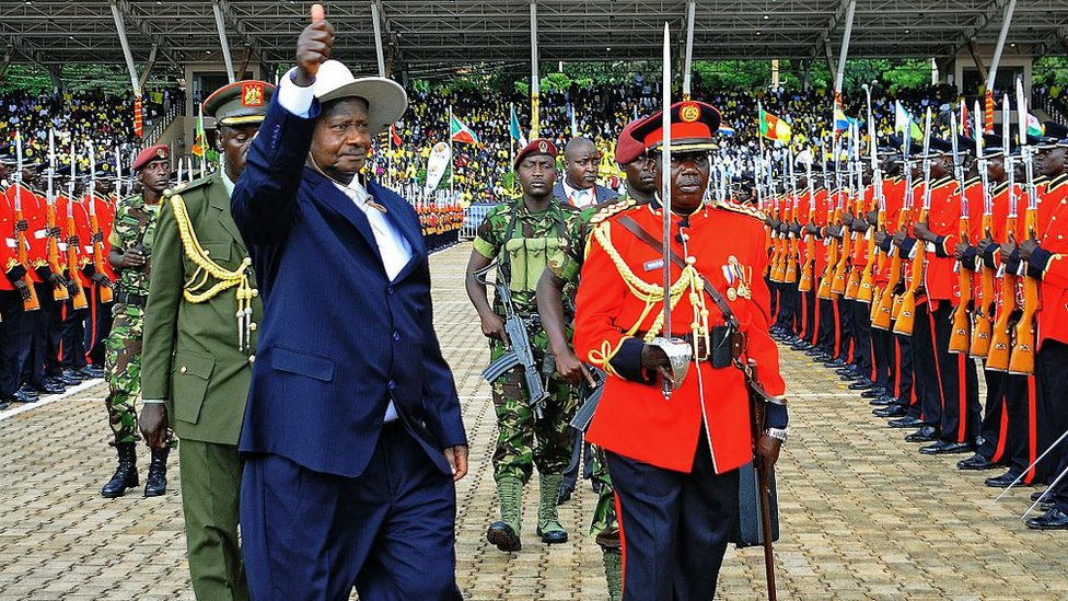 Uganda's President Yoweri Museveni gestures during his swearing in ceremony as newly elected President in Kampala on May 12, 2016