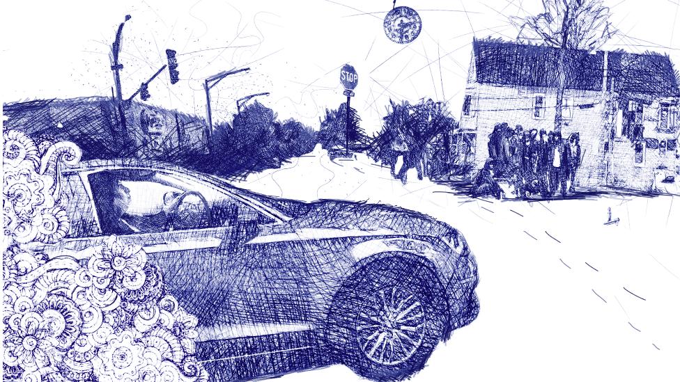 Ilustración de Guadalupe manejando por las calles de Chicago