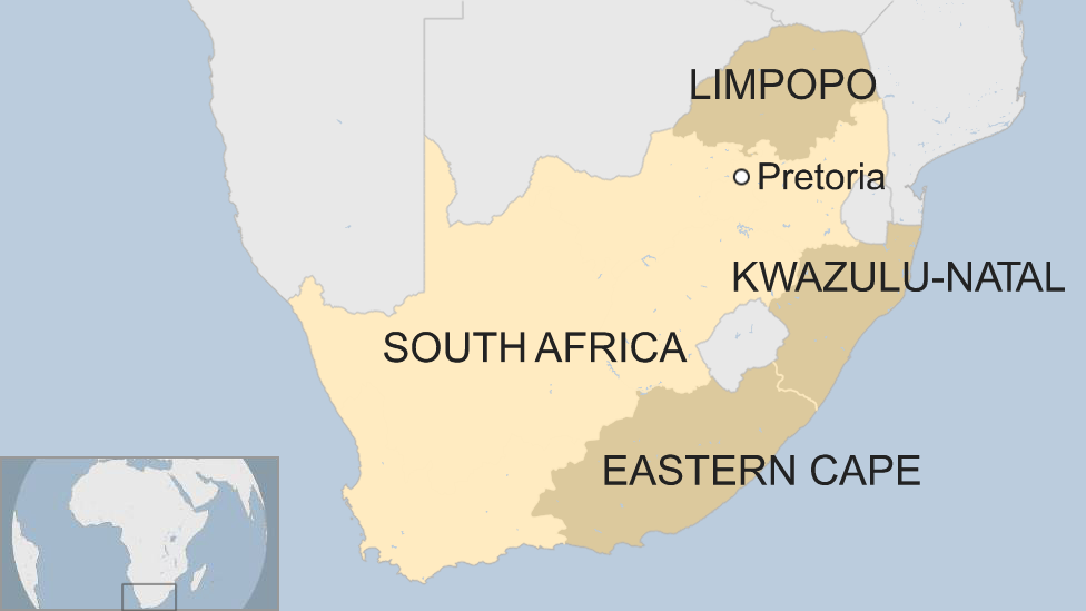 A map of South Africa showing the provinces of Limpopo, KwaZulu-Natal and Eastern Cape