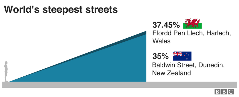 A graph comparing the steepness of streets in Wales and New Zealand