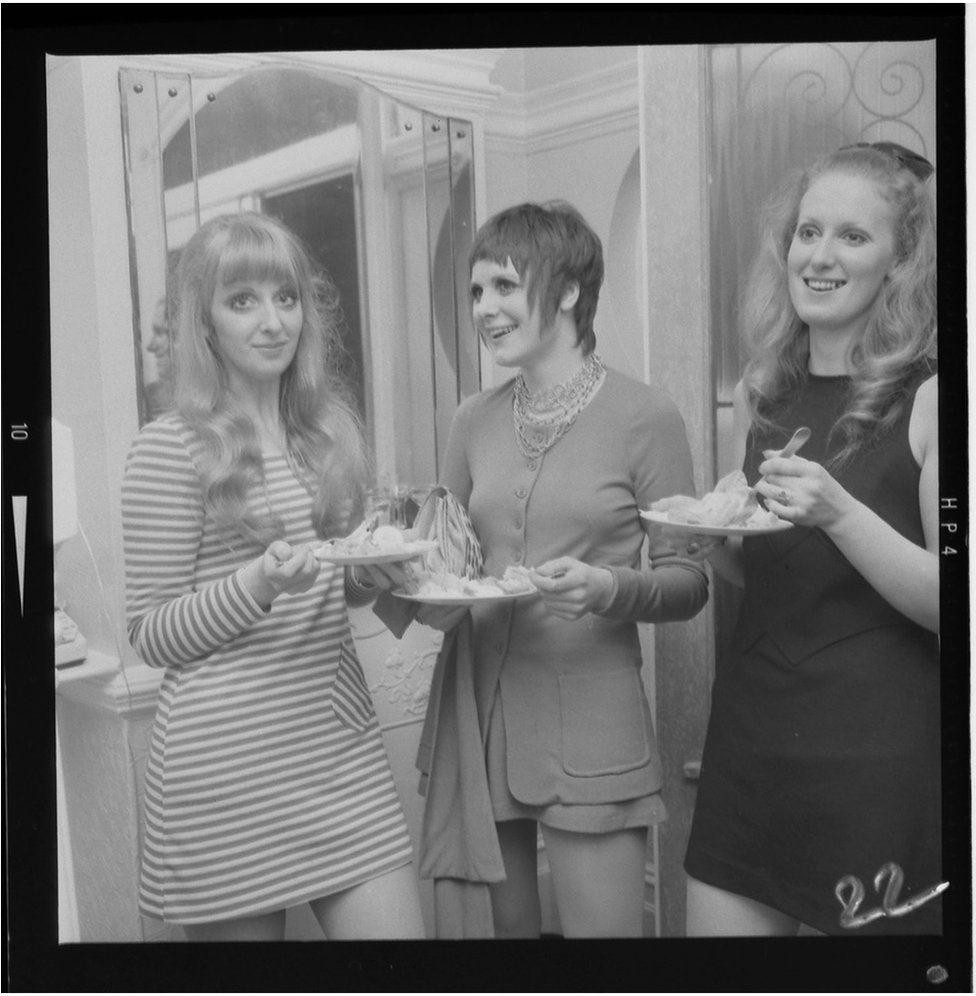 Three women at a party