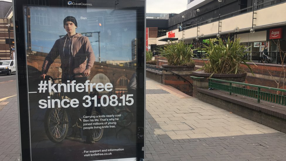 An anti-knife poster in Liverpool