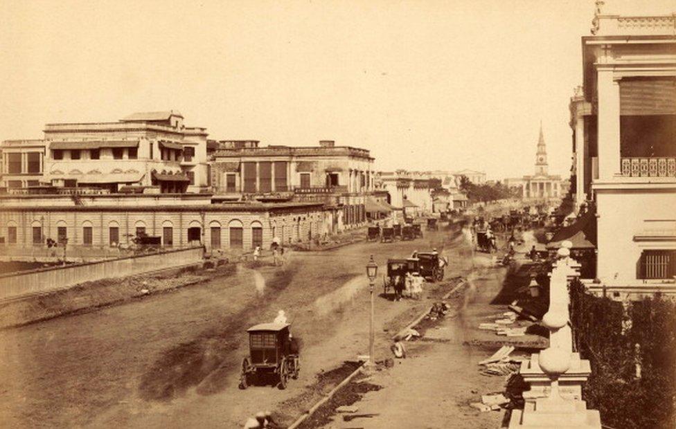 A pavement under construction in Calcutta, circa 1880.