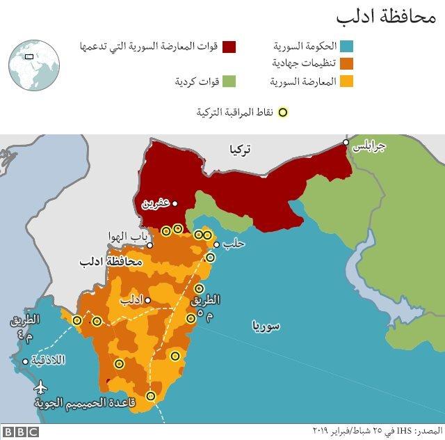 مناطق سيطرة جهات مختلفة في سوريا