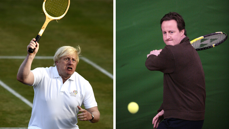 Boris Johnson and David Cameron playing tennis (file pictures from 2013 and 2008)