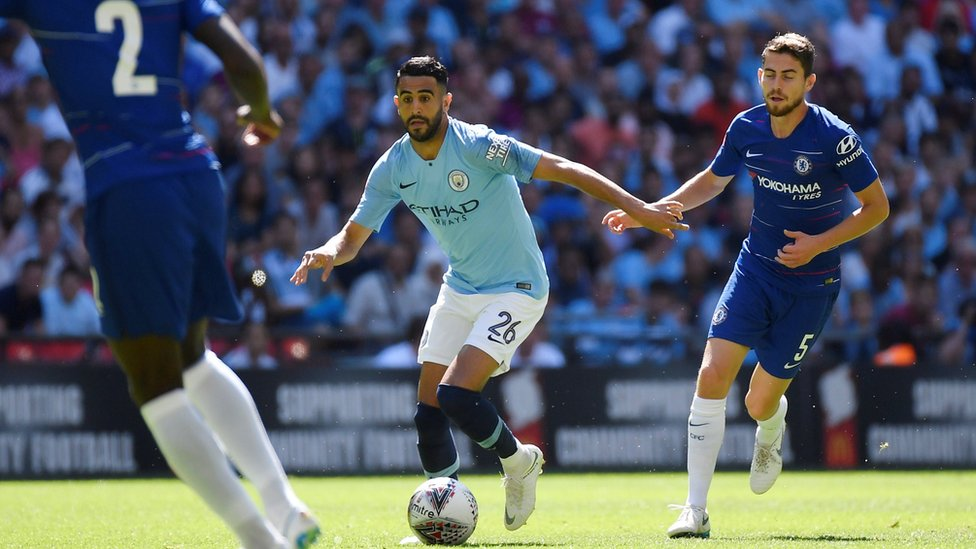 Manchester City's Riyad Mahrez in action with Chelsea's Jorginho in the Community Shield