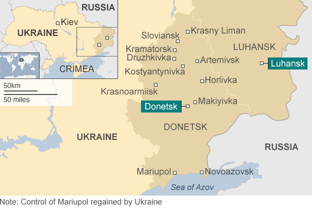 Map: showing Donetsk and Luhansk