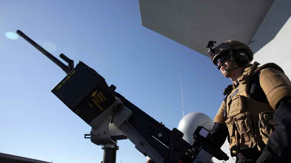 A member of the Norwegian navy taking part in the international effort to remove chemical weapons out of Syria in 2014.